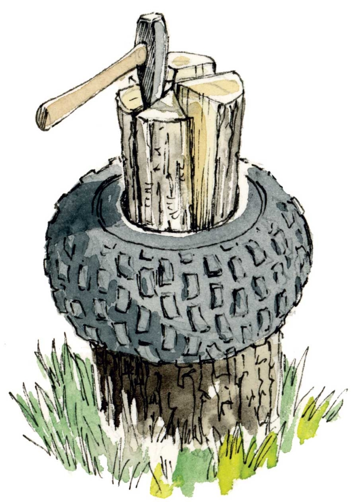 illustration of log being split with axe and contained by tire.